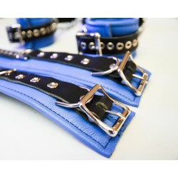 Leather Lined Non-Detachable Grip Cuff & Ankle Cuff Set - Light Blue