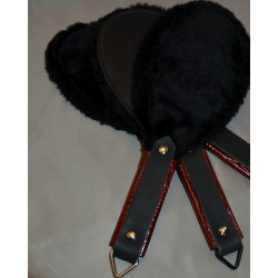 Round Spanking Paddle - Black with Black Faux Fur and  Reddish Brown Scale Handle